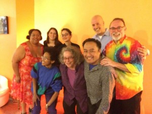 Beltway Poetry Reading at Coffy Cafe, May 2016. From left to right: Tolonda Henderson, Riley Ramanathan, Megan Alpert, Tanya Paperny, Kim Roberts, Regie Cabico, Noah Stetzer, Peter Montgomery.