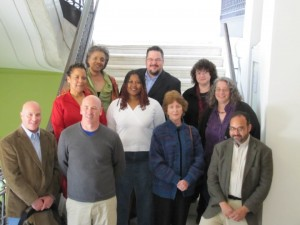 Beltway Poetry Reading in 2010 at the City Museum. Poets from l. to r., front row: Joseph Ross, stevenallenmay, Mary Ann Larkin, Sunil Freeman. Middle row: Carleasa Coates, Deirdre Gantt, Kim Roberts. Back row: Donna Denize, Dan Vera, Saundra Rose Maley.