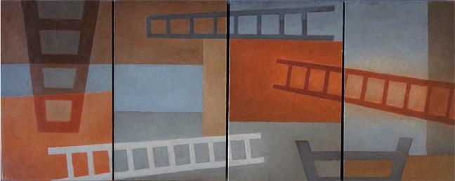"Kathy Keler, ""Mysterious City,"" 2010, acrylic and alkyd on wood, 9"" x 24"""