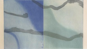 "Kumi Korf, ""Depth of Sea,"" intaglio print, 19"" x 36"""