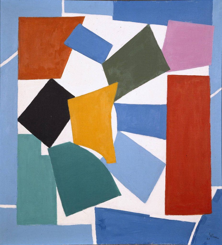 """""""Watusi (Hard Edge)"""" by Alma Thomas, acrylic on canvas, 47 5/8"""" x 44 1/4"""", 1963.Used by permission of Hirshhorn Museum and Sculpture Garden, Smithsonian Institution.  Gift of Vincent Melzac, 1976.  Photography by Lee Stalsworth."""
