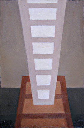 "Kathy Keler, ""Call and Answer,"" 2009, acrylic and alkyd on wood, 9"" x 6"""