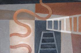 "Kathy Keler, ""Conjurer,"" 2009, acrylic and alkyd on wood, 6"" x 9"""