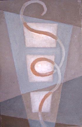 "Kathy Keler, ""Decoder,"" 2009.  Acrylic and alkyd on wood, 6"" x 9"""