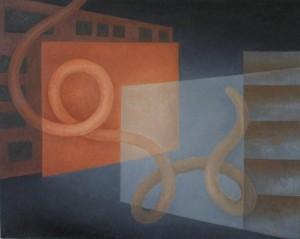 """Kathy Keler, """"Encounter,"""" 2009, acrylic and alkyd on canvas, 20"""" x 30"""""""