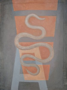 """Kathy Keler, """"The Healing,"""" 2010, acrylic and alkyd on paper mounted on wood, 16"""" x 11"""""""