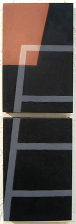 "Kathy Keler, ""Ladder I,"" 2009, acrylic and alkyd on wood, 18"" x 6"""