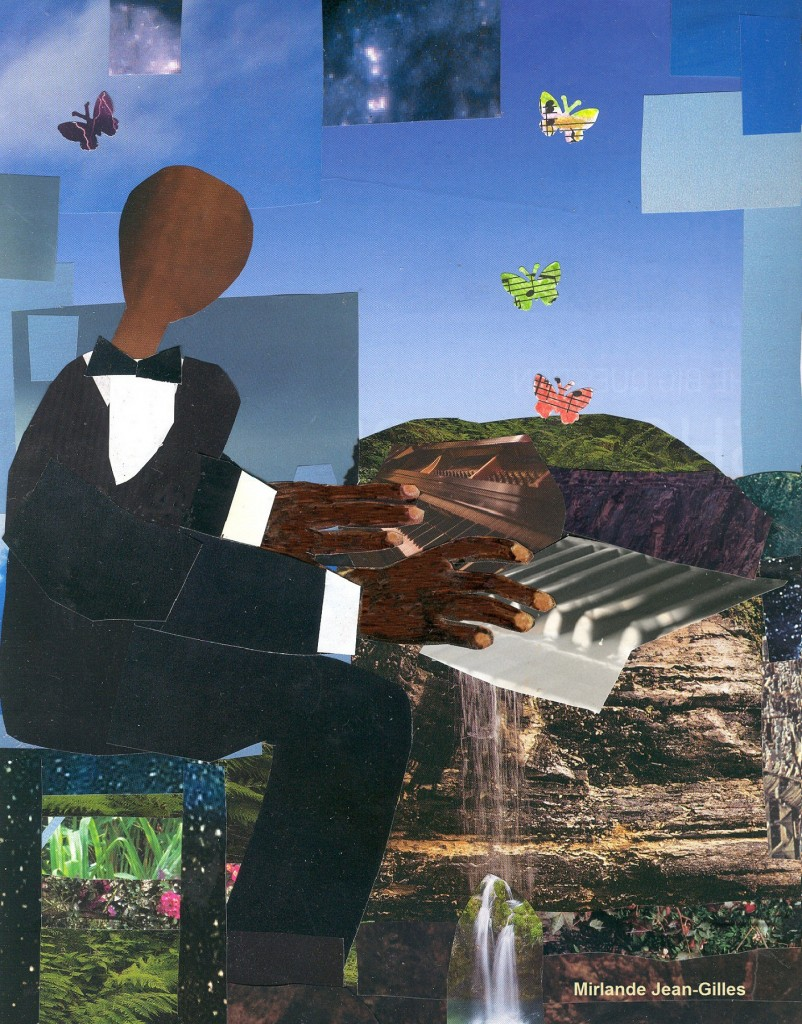 "Mirlande Jean-Gilles, ""Oscar Peterson,"" mixed media, 2013"