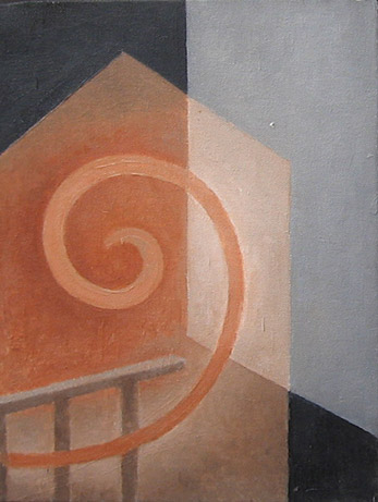 "Kathy Keler, ""Overturned,"" 2008, acrylic and alkyd on canvas, 14"" x 11"""