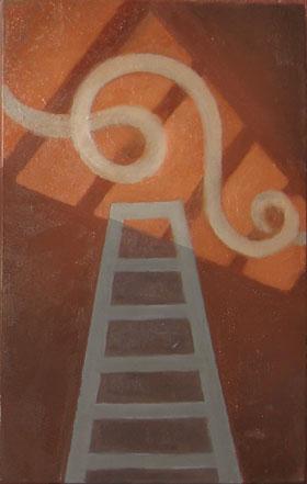 "Kathy Keler, ""Persistence,"" 2009, acrylic and alkyd on wood, 9"" x 6"""