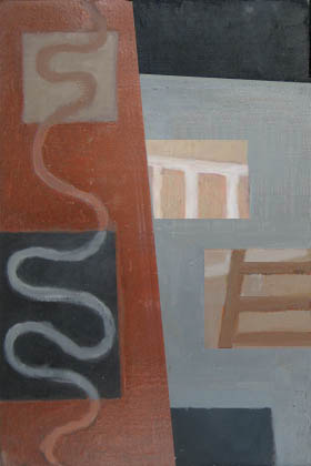 """Kathy Keler, """"Riddle,"""" 2009, acrylic and alkyd on wood, 9"""" x 6"""""""