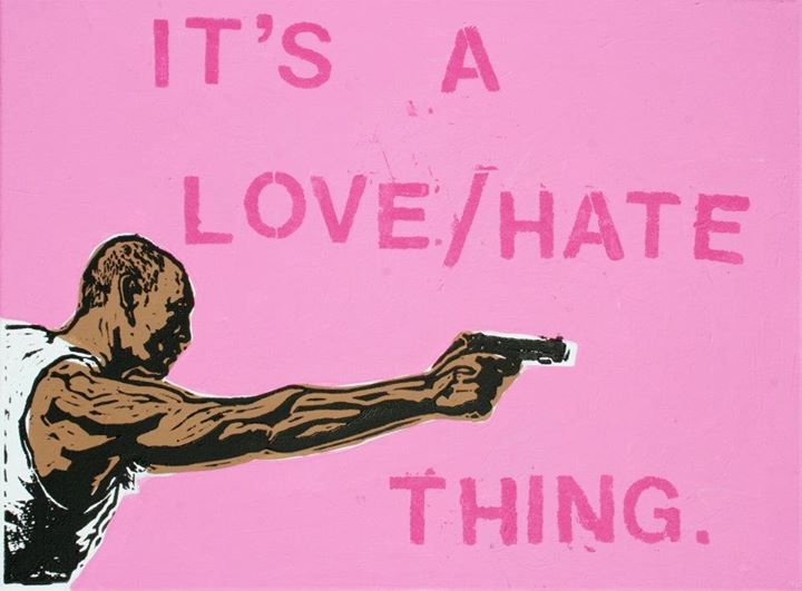 "David Amoroso, ""It's a Love/Hate Thing,"" linoleum block print, acrylic on canvas, 2013"