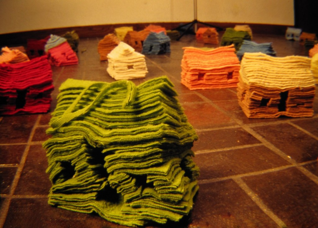 "Susan Boscarino, ""100 Houses,"" sculptural installation, blankets, 1994"