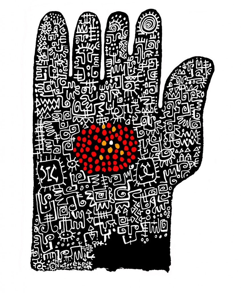 "Victor Ekpuk, ""All Fingers Are Not Equal,"" digital mixed media drawing, 2010"