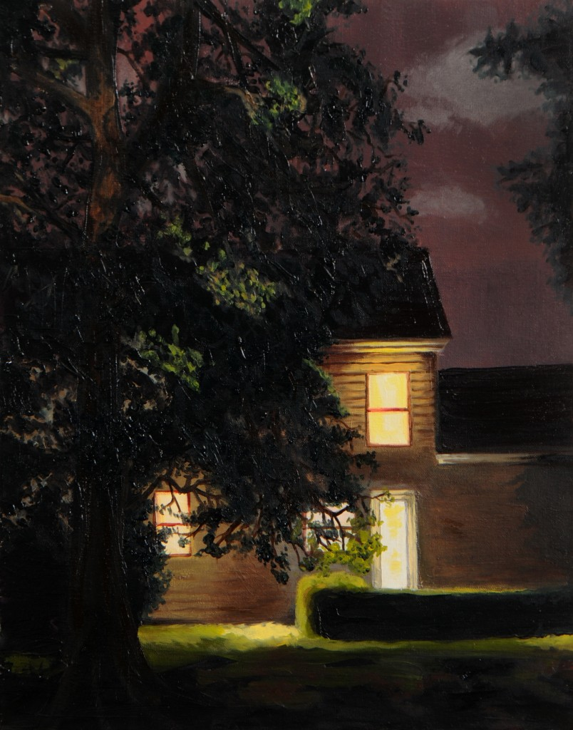 "Shannon Riley, ""Suburban Glow,"" oil on canvas, 2014."