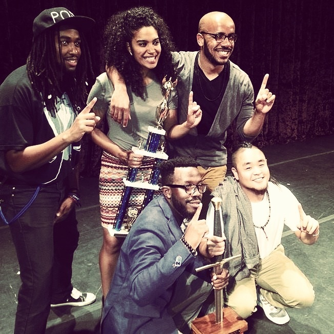 The Beltway Slam Team, just after winning First Place in the 2014 Nationals.  From left to right: Roscoe Burnems, Elizabeth Acevedo, Pages Matam, Clint Smith, G. Yamazawa.