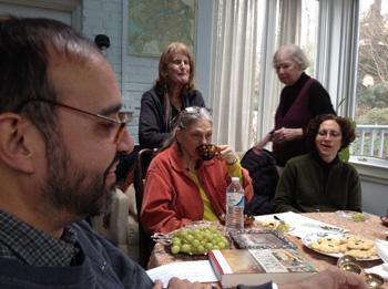 """A Splendid Wake"" planning committee meeting.  From left to right: Sunil Freeman, Elisavietta Ritchie, Anne Becker, Myra Sklarew, and Jennifer King."