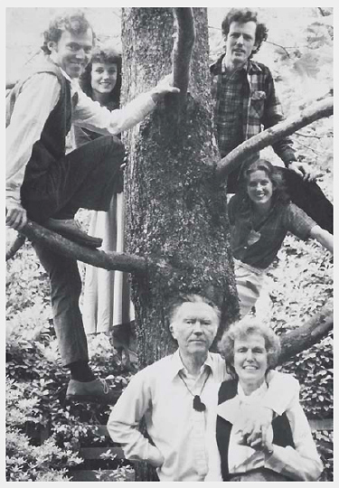 "The Stafford ""family tree"": from left to right, in the branches: Bret, Kit, Kim and Barbara. On the ground: William Stafford and wife Dorothy. Photo: William Stafford Archive, Lewis and Clark College."