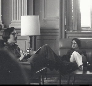 Bruce Andrews and Lee Lally, c. 1970, Trinity College, Washington, DC. Photo courtesy of Michael Lally.