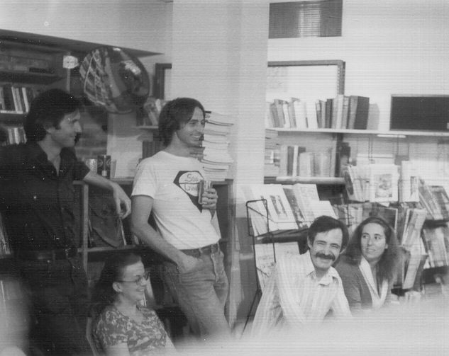 Michael Lally, unknown woman, Terence Winch, Doug Lang, Lynn Dreyer, c. 1976, Folio Books, Washington, DC.