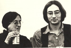 Lee Lally and Terence Winch at a Mass Transit reading in the early 1970s. Photo by Jesse Winch.