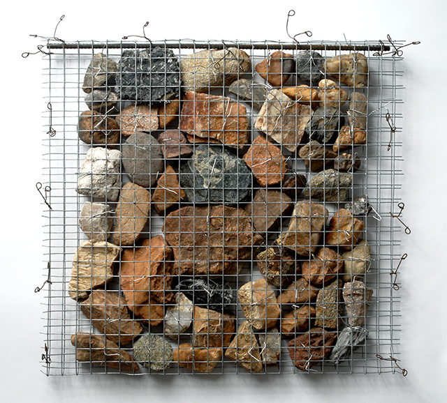 """Sheila Rotner, """"Containment 2,"""" metal wire and rocks, 2006"""