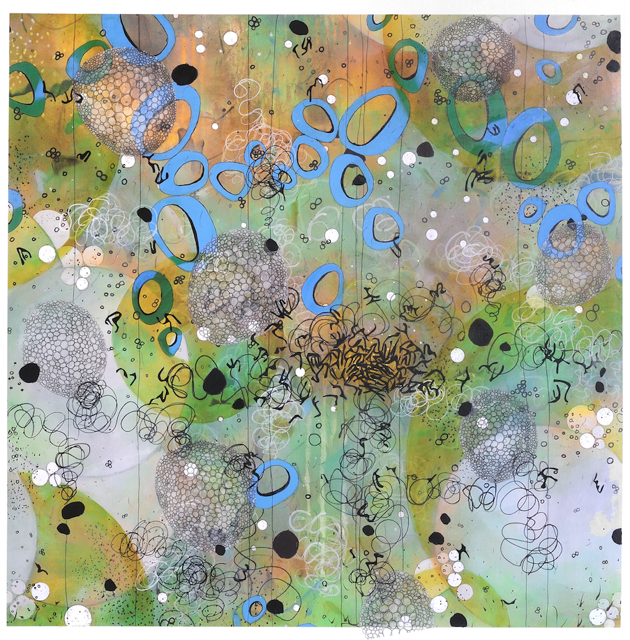 """Betsy Stewart, """"Microaquea, No. 2,"""" Monoprint with acrylic, ink and mylar on canvas, 2014"""