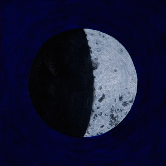 "Judy Jashinsky, ""Lunar Phases, October 23, 1962,"" from the series ""13 Days & 13 Nights: The Cuban Missile Crisis,"" oil, acrylic and gesso, 2012."
