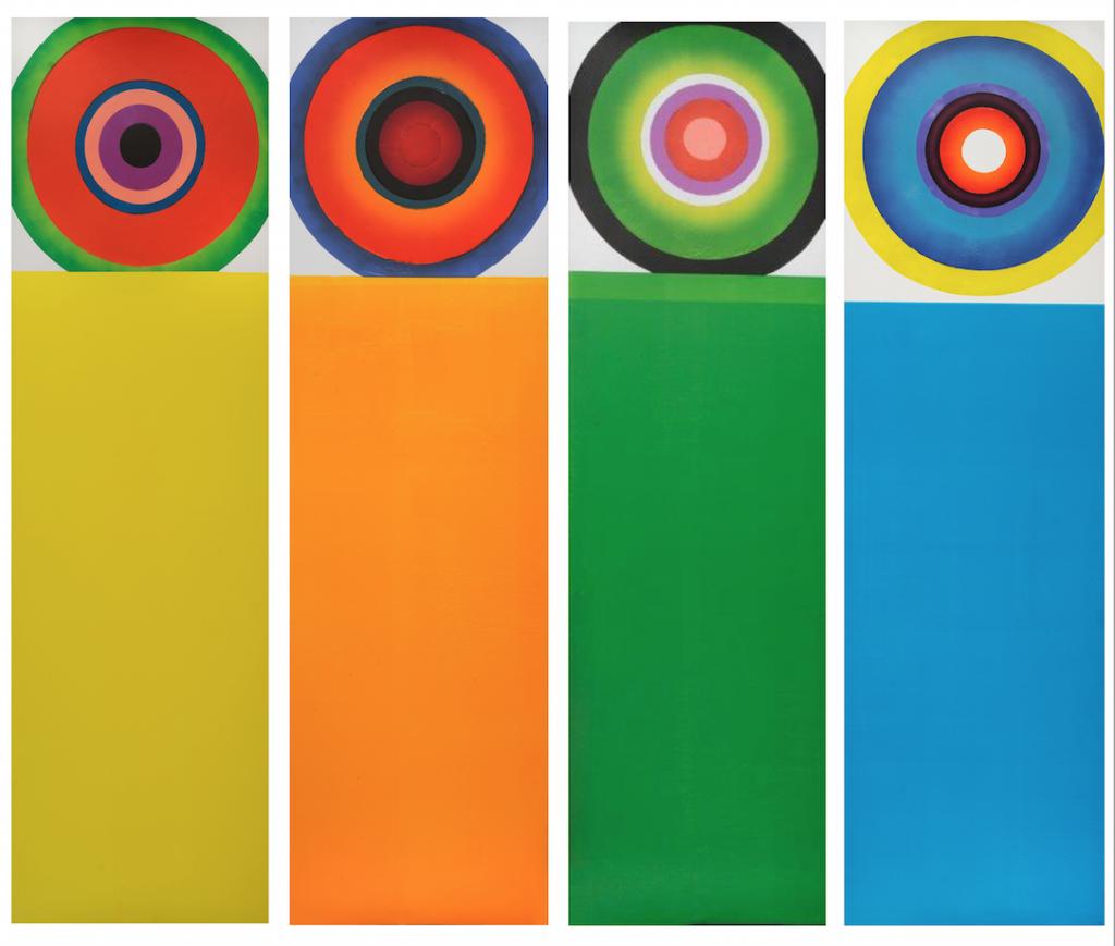 "Susan Goldman, ""TARGETS, Y, O, G, B,"" monotypes, 2014. Copyright © 2014 Susan Goldman. All Rights Reserved."