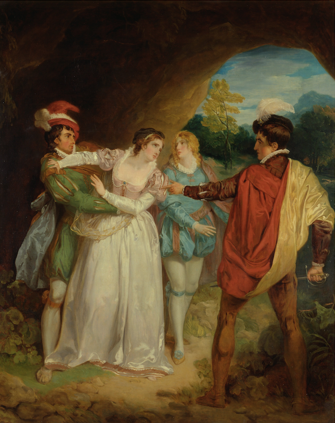 """Valentine Rescuing Sylvia from Proteus,"" oil painting by Francis Wheatley, 1792."