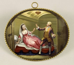 "Painted copper roundel showing a scene from ""Romeo and Juliet"" from the 1750s production starring David Garrick and George Ann Belamy. Courtesy of the Folger Shakespeare Library."