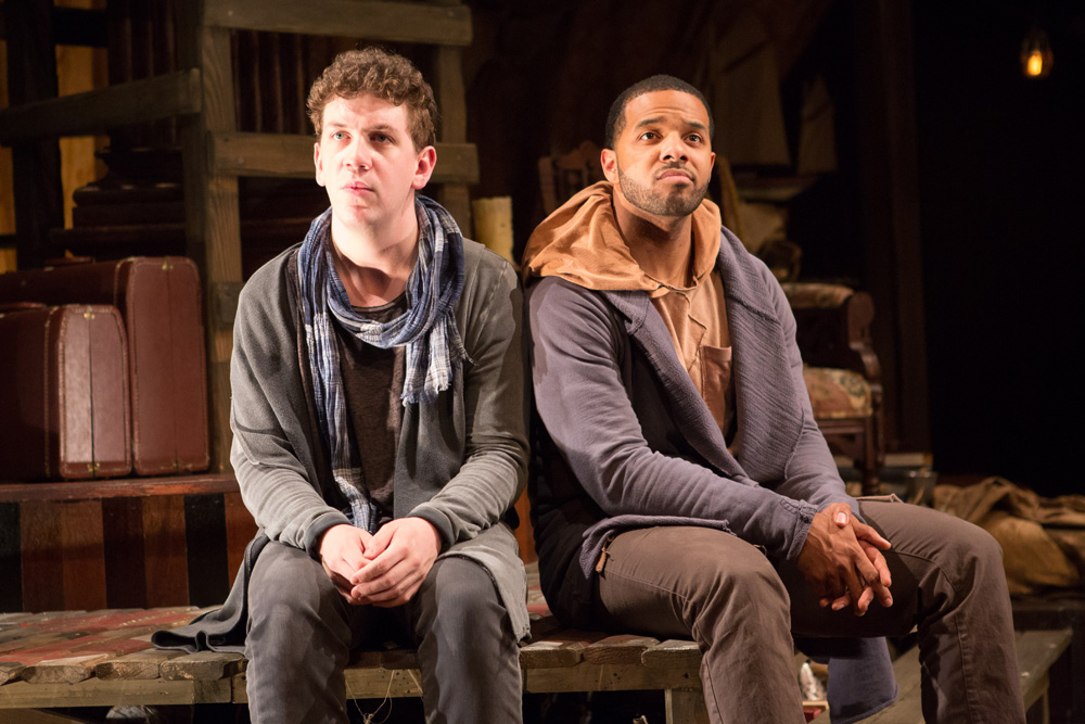 From the 2015 production at the Folger Shakespeare Theater, starring Adam Wesley Brown as Guidenstern and Romell Witherspoon as Rosencrantz. Photo by Teresa Wood, 2015.