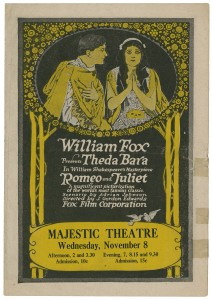 "Promotional poster from the 1916 film of ""Romeo and Juliet."" Courtesy of the Folger Shakespeare Library."