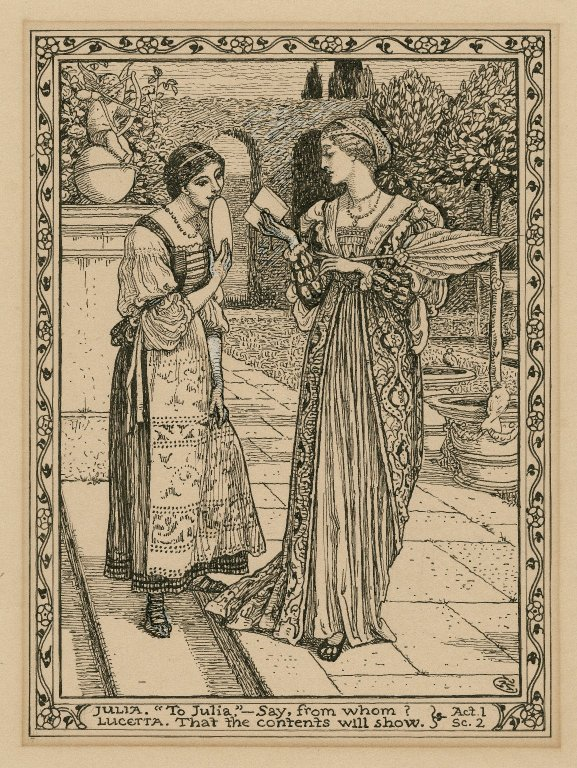 Julia and Lucetta with Proteus's letter, Illustration by Walter Crane, undated. Courtesy of the Folger Shakespeare Library.