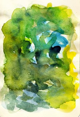"Dan Vera, ""The Fragile Expansion of Mysterious Green Elements,"" water color, 2016."